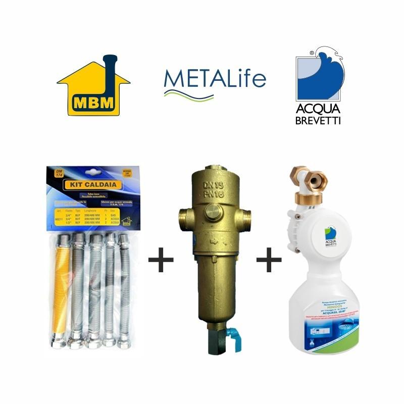 Kit installazione Caldaia Allacciamento MBM + Defangatore Magnetico METALife + Pompa Anticalcare Acqua Brevetti PM009