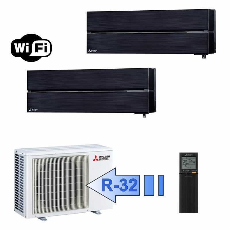 Mitsubishi MSZ-LN25VGB MSZ-LN35VGB MXZ-2F53VF Climatizzatore Dual Split Serie Kirigamine Style Nero WiFi BTU 9+12 R-32