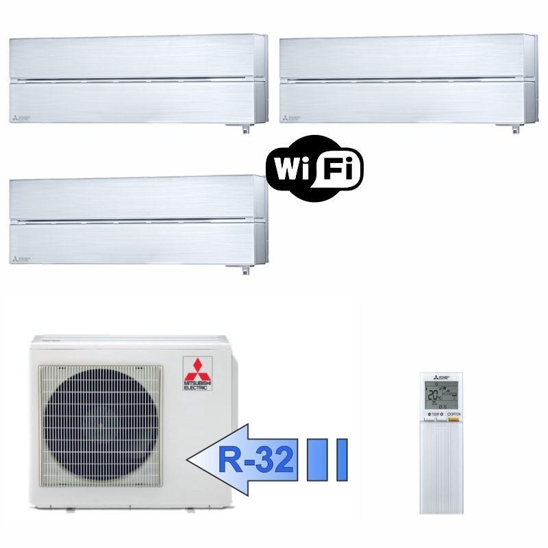 Mitsubishi MSZ-LN25VGV 2x MSZ-LN35VGV MXZ-3F68VF Climatizzatore Trial Split Serie Kirigamine Style Bianco WiFi BTU 9+12+12 R-32