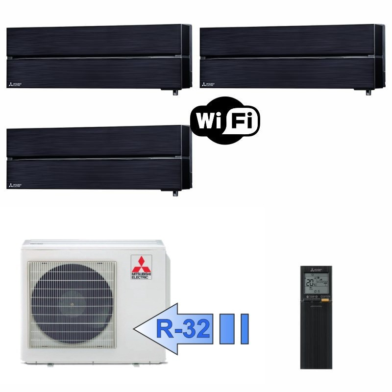 Mitsubishi 2x MSZ-LN25VGB MSZ-LN35VGB MXZ-3F54VF Climatizzatore Trial Split Serie Kirigamine Style Nero WiFi BTU 9+9+12 R-32