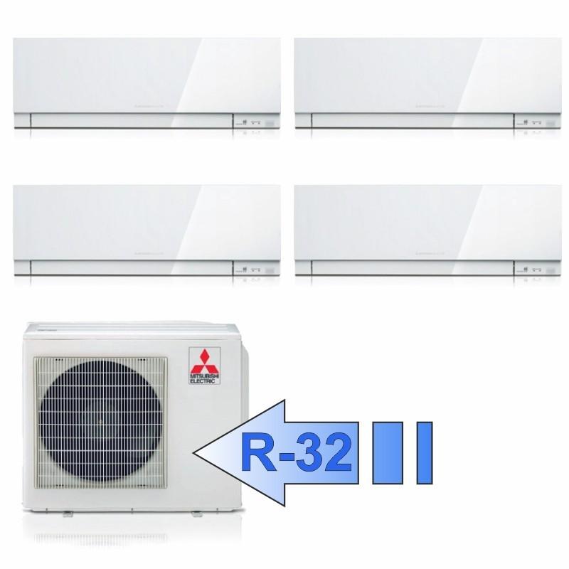 Mitsubishi 2x MSZ-EF25VGW 2x MSZ-EF35VGW MXZ-4F72VF Climatizzatore Quadri Split Kirigamine ZEN Bianco BTU 9+9+12+12 R-32
