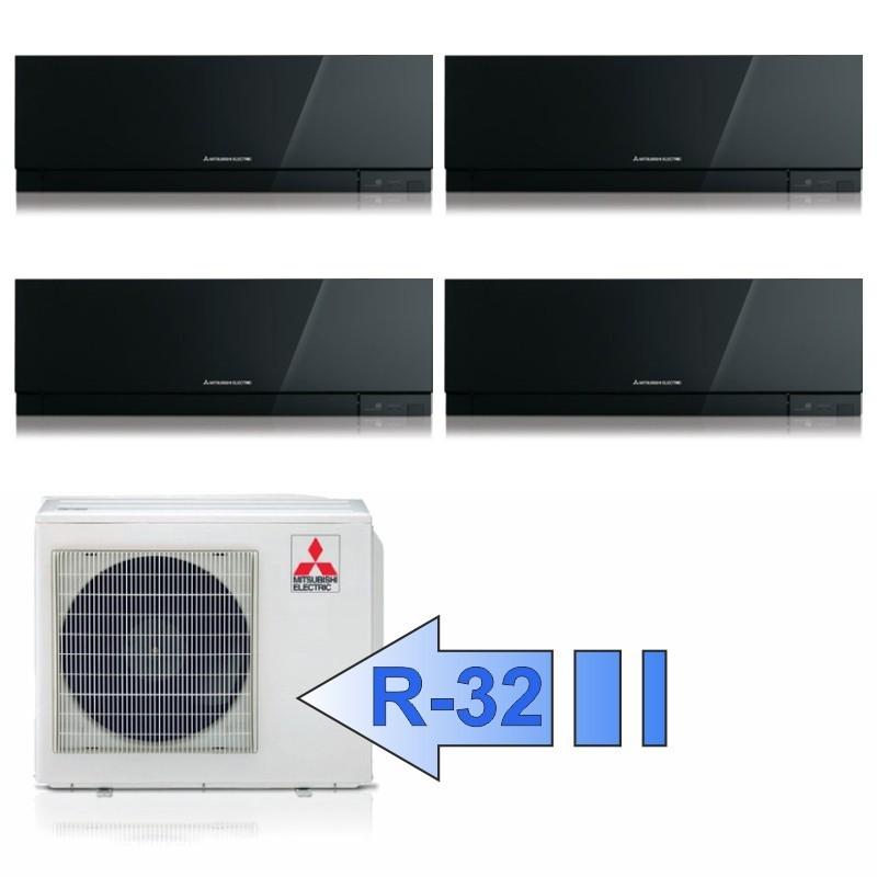 Mitsubishi 3x MSZ-EF25VGB MSZ-EF35VGB MXZ-4F72VF Climatizzatore Quadri Split Kirigamine ZEN Nero BTU 9+9+9+12 R-32