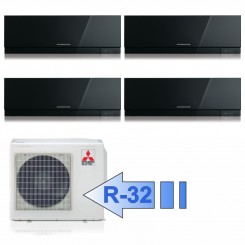 Mitsubishi 3x MSZ-EF25VGB MSZ-EF50VGB MXZ-4F72VF Climatizzatore Quadri Split Kirigamine ZEN Nero BTU 9+9+9+18 R-32