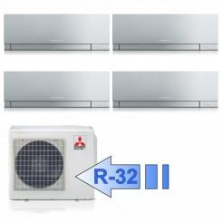 Mitsubishi 4x MSZ-EF25VGS MXZ-4F72VF Climatizzatore Quadri Split Kirigamine ZEN Argento BTU 9+9+9+9 R-32