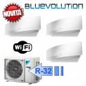 Daikin 2x FTXJ20MW FTXJ25MW 3MXM40M Climatizzatore Trial Split Parete Emura Bianco WIFI Bluevolution 7+7+9 Btu R-32