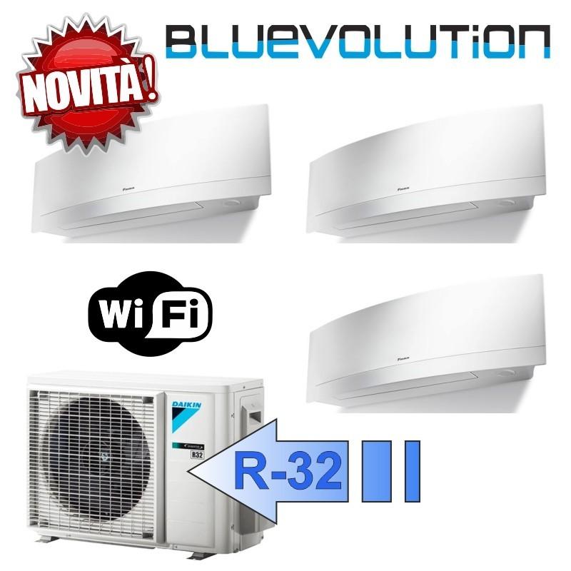 Daikin FTXJ25MW FTXJ25MW FTXJ25MW 3MXM52M/N Climatizzatore Trial Split Parete Emura Bianco WIFI Bluevolution 9+9+9 Btu R-32