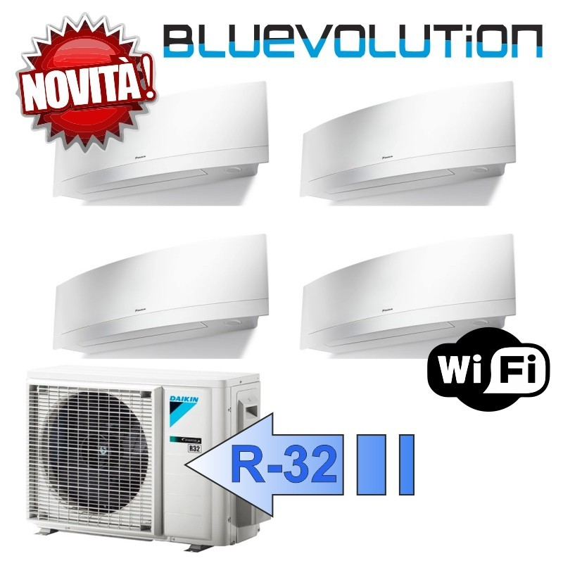 Daikin 4x FTXJ25MW 4MXM80M Climatizzatore Quadri Split Parete Emura Bianco WIFI Bluevolution 9+9+9+9 Btu R-32