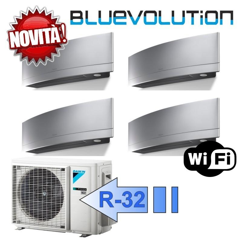 Daikin 2x FTXJ20MS 2x FTXJ25MS 4MXM80M Climatizzatore Quadri Split Parete Emura Argento WIFI Bluevolution 7+7+9+9 Btu R-32
