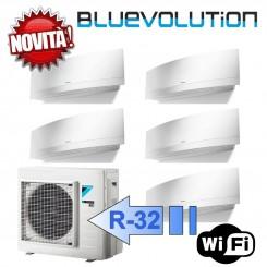 Daikin 3x FTXJ20MW 2x FTXJ25MW 5MXM90M Climatizzatore Penta Split Parete Emura Bianco WIFI Bluevolution 7+7+7+9+9 Btu R-32