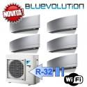 Daikin 3x FTXJ20MS 2x FTXJ25MS 5MXM90M Climatizzatore Penta Split Parete Emura Argento WIFI Bluevolution 7+7+7+9+9 Btu R-32
